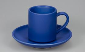Taza café c/ plato azul mate 2810/21