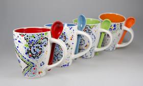 Mug con cuchara + int. color 2846/32G
